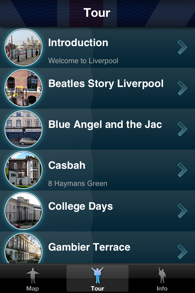 The Beatles Story Liverpool - stop list