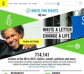 Amnesty UK Write for Rights homepage 2016